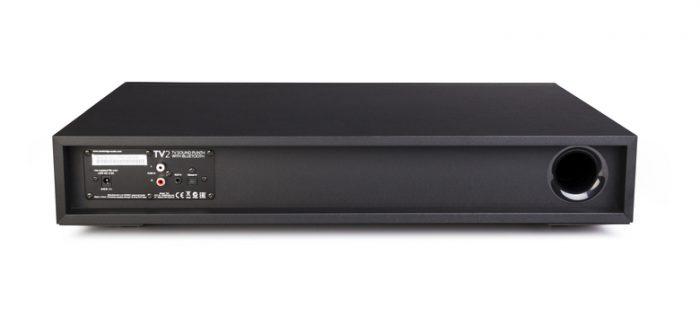 """TV2 TV 2 MINX MIN X diffusore per TV (per TV fino a 40"""") - 2 diffusori BMR da 2.25"""" ad ampia dispersione - 1 subwoofer interno da 6.5"""" - amplificatore da 100W - telecomando intelligente interno a I/R e Auto Power On - DSP con 4 modalità di ascolto: Voce, Musica, Film & TV - Bluetooth Streaming da telefoni e tablet - facile connessione TV a cavo singolo via ingresso ottico Toslink - ingressi RCA e 3.5mm - dim. 550mm (L) x 104 (H) x 331 (P) Music System con Airplay - Bluetooth - Internet Radio Sistema integrato musicale altoparlanti casse acustiche diffusori wireless music system streaming multiroom audio AirPlay, Bluetooth e lettore di rete UPnP promozione sconto scontato outlet"""