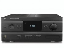 T 787 V2 T787 SINTOAMPLIFICATORE AUDIO/VIDEO SINTO SINTOAMPLI NAD OFFERTA PROMOZIONE SCONTO SCONTATO OCCASIONE OUTLET DOLFI HI-FI FIRENZE HI FI FIDELITY HIGH END TOSCANA ITALIA Sintoamplificatore top di gamma il NAD T 787 a 7.1 canali. In evidenza la porta per moduli MDC, grazie alla quale espandere e modificare gli ingressi in base a nuove esigenze. 7 canali da 120 watt l'uno che salgono in regime dinamico fino a 230 e 320 watt su 8 e 4 ohm; doppio trasformatore di alimentazione.Decodifiche ad alta risoluzione quali video 3D a 1080p, Dolby True HD, DTS Master Audio, Dolby Digital EX, Prologic IIx, Neo:6.  Programmi di personalizzazione del campo sonoro, con il set-up Audissey MultiEQ XT con microfono per la verifica dell'acustica dell'ambiente. Programmi in stereo possono essere convertiti in multicanale dal sistema EARS Surround. App NAD Remote per iOS per controllare la principali funzioni via iPhone/iPad. Ingressi: 6 HDMI, 3 audio digitale ottico, 3 audio digitale coassiale, 6 audio analogico RCA, 3 S-video, 2 Component, 3 Composite, 1 antenna AM-FM, 1 ricevitore DAB, audio analogico 7.1 canali, 1 Ethernet. Uscite: 1 audio digitale ottico, 1 audio digitale coassiale, 2 HDMI, audio analogico 7.1 canali, 1 audio zona 2, 2 audio out, 1 video Composito. Connessioni IR in, MP Dock, RS232. Sul pannello anteriore S-Video, audio digitale ottico, video composito, audio mini-jack, HDMI.  SCHEDA TECNICA Tipo: amplificatore AV Potenza: 7x120 watt – 7x230 watt - 7x320 watt 8/4 ohm Dynamic Power Sensibilità d'ingresso: 130 mV Fattore di smorzamento: 60 THD: